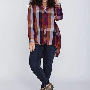 Melissa McCarthy for Seven Plaid Button Down Shirt